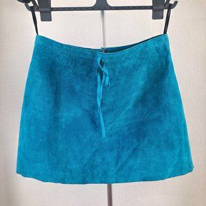 Bebe Blue Suede Leather Mini Skirt (6)